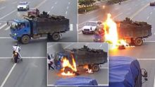 Motorcyclist Miraculously Survives Fiery Crash Into Dump Truck