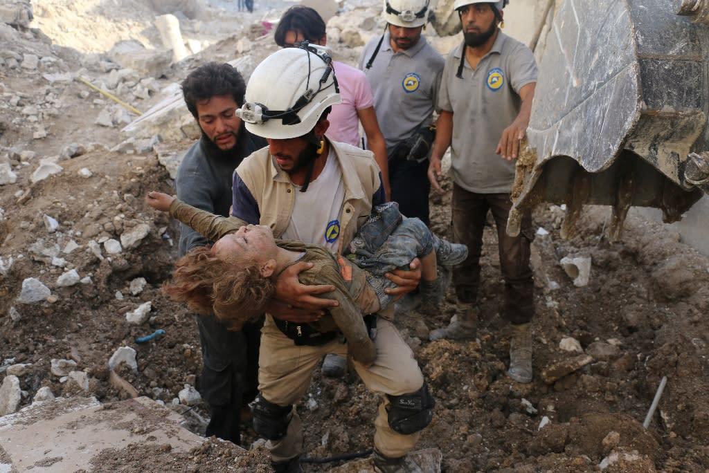 The White Helmets say their volunteers have saved 82,000 people in Syria's brutal civil war (AFP Photo/AMEER ALHALBI)