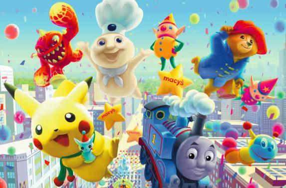 Cute new Pikachu, Skylanders balloons in Thanksgiving Parade