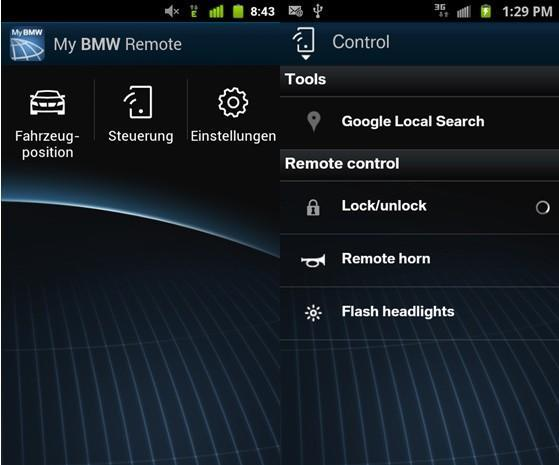 My BMW Remote app ready to Play with Android