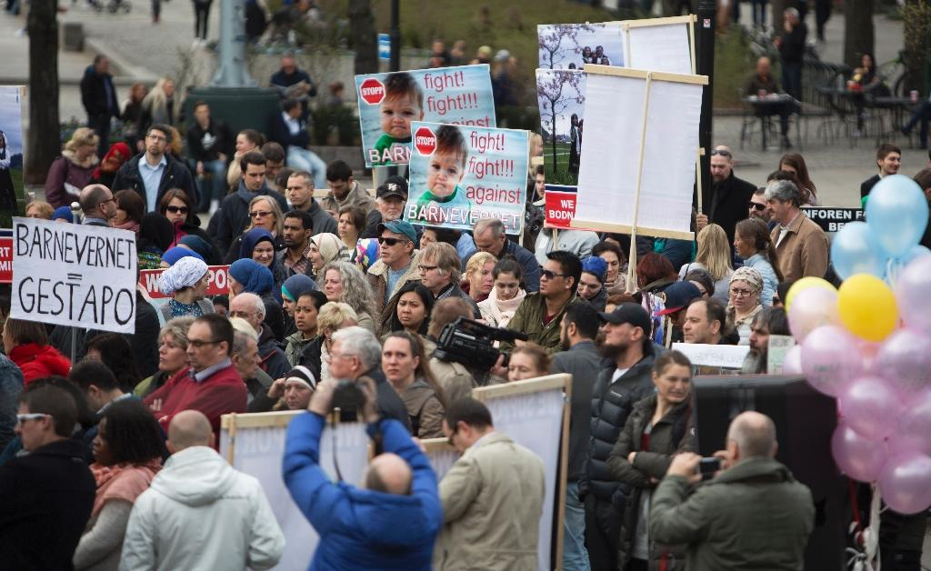 People from Melbourne to Bucharest and even Hawaii came out on April 16 to protest over the removal of five children, including a three-month-old baby, from their Romanian-Norwegian parents by Norway's Barnevernet (AFP Photo/Berg-Rusten, Ole)