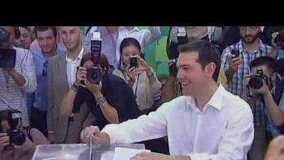 Leftist candidate Tsipras votes in Greece