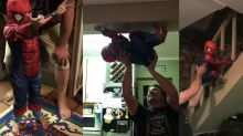 Watch this dad expertly help his kid pretend to be Spider-Man
