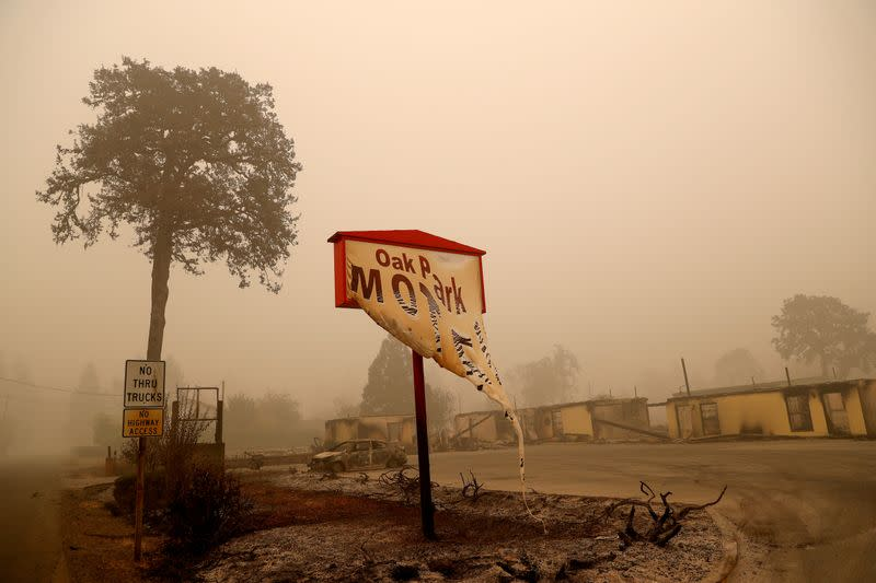 FILE PHOTO: The remains of a fire damaged hotel sit, in the aftermath of the Beachie Creek fire in Gates, Oregon
