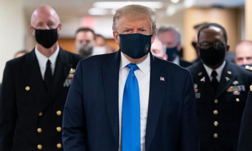 Donald Trump wears mask in public for first time during Covid-19 pandemic
