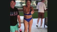 WATCH: Proud mum Denise Welch wears just a bikini as she dances to son's song