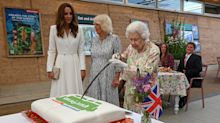 'I don't think it's going to work': Queen quips as she cuts cake with sword