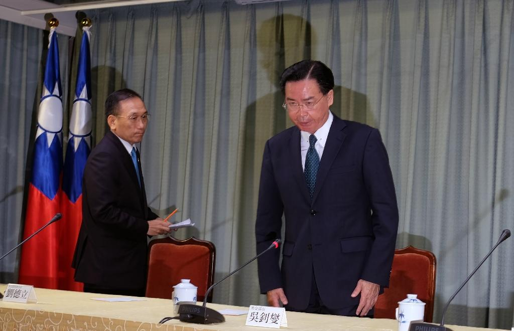 "Speaking in Taipei, foreign minister Joseph Wu, right, condemned China's ""crude actions"" (AFP Photo/SAM YEH)"