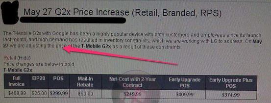 T-Mobile G2x gets a $50 price bump, still no stock in sight