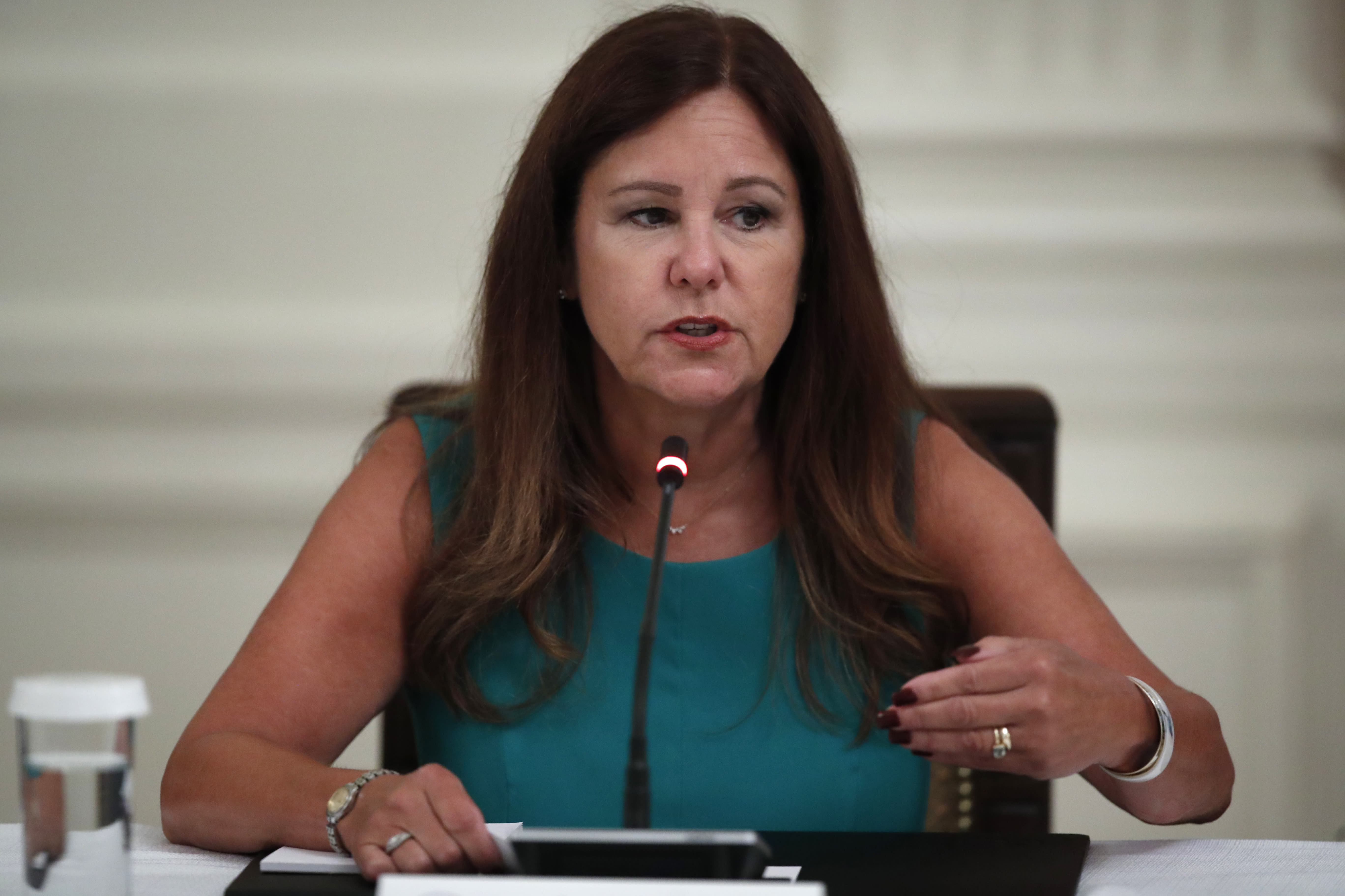 """Second lady Karen Pence speaks during a """"National Dialogue on Safely Reopening America's Schools,"""" event in the East Room of the White House, Tuesday, July 7, 2020, in Washington. (AP Photo/Alex Brandon)"""