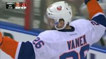 Frans Nielsen sets up Thomas Vanek for a goal