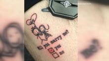 Man surprises girlfriend with marriage-proposal tattoo he tricks her into inking on him