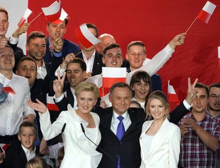 Polish President Andrzej Duda won a new five-year term with 51 percent of the vote (AFP Photo/JANEK SKARZYNSKI)