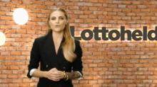 Sophia Thomalla präsentiert Lottozahlen unten ohne