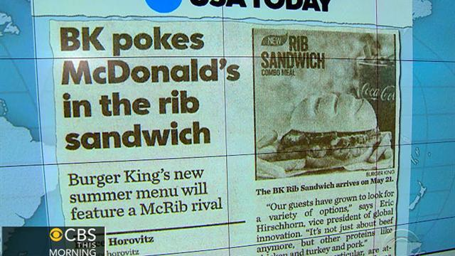 Headlines at 8:30: Burger King rolls out new rib sandwich
