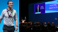 Bear Grylls appeared at the Tory Party Conference and told everyone to stand up and stretch