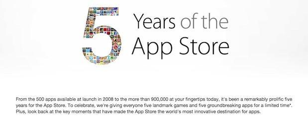 App Store gives away popular iOS games and apps to mark its 5th anniversary (update)