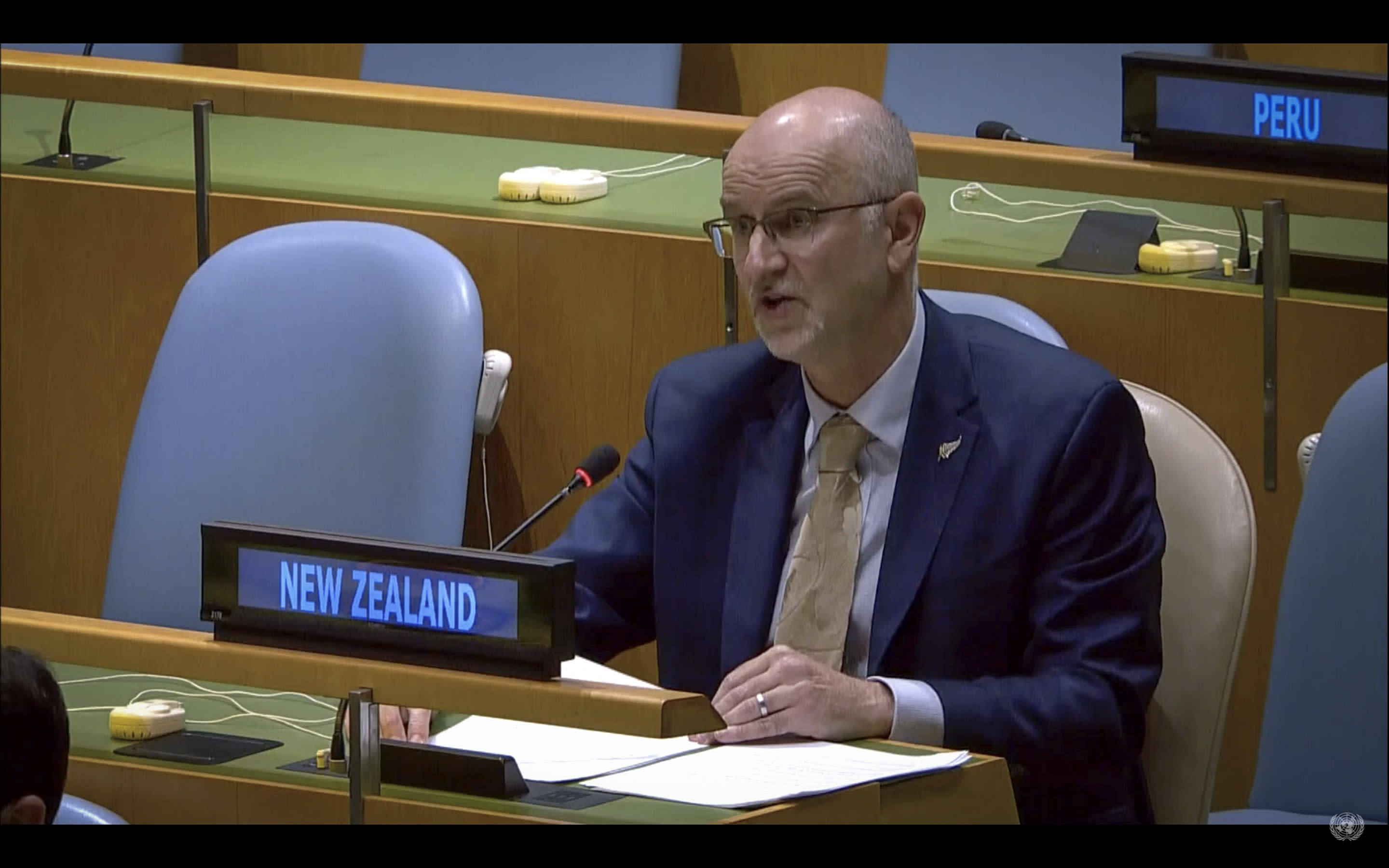 In this image from UNTV video, Craig John Hawke, permanent representative of New Zealand to the United Nations, speaks in person during the 75th session of the United Nations General Assembly, Tuesday, Sept. 29, 2020, at U.N. headquarters. (UNTV via AP)
