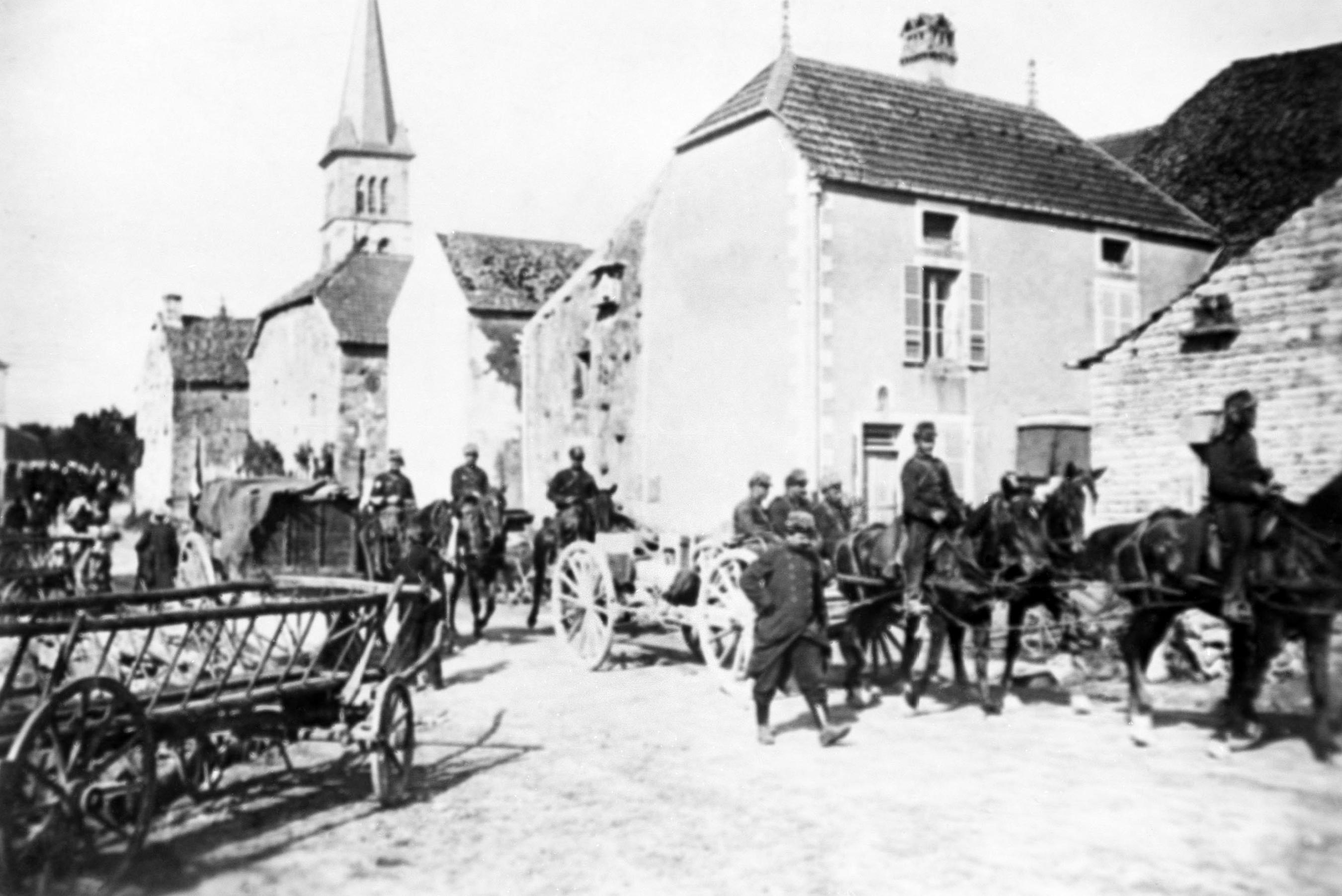 FILE - French cavalry marching through northern France, after driving the Germans back in an undated photo. They were messengers, spies, sentinels and the heavy haulers of World War I, carrying supplies, munitions and food and leading cavalry charges. The horses, mules, dogs and pigeons were a vital part of the Allied war machine, saving countless lives _ and dying by the millions. (AP Photo, File)
