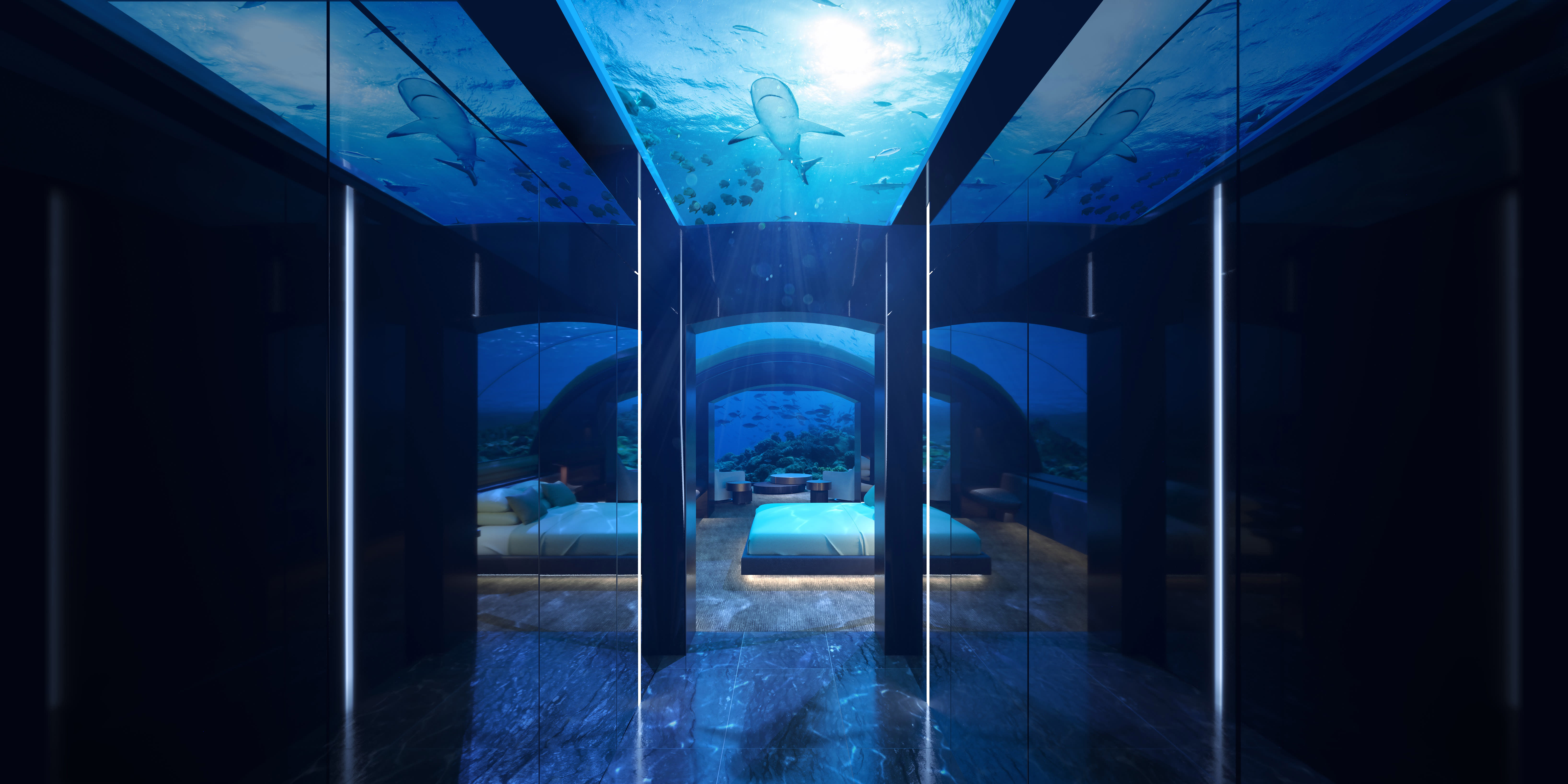 A rendering for the undersea residence and villa of the Conrad Maldives Rangali Island, The Muraka