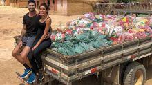 Adriana Sant'Anna e Rodrigão doam cestas básicas a famílias do sertão baiano