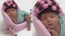 People are obsessed with this baby in curlers