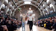76-year-old Vivienne Westwood rides on model's shoulders for LFWM SS18 political circus