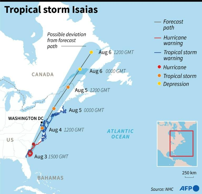 Forecast path of tropical storm Isaias (AFP Photo/Nicolas RAMALLO)
