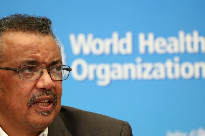FILE PHOTO: Director-General of the WHO Tedros Adhanom speaks during a news conference in Geneva