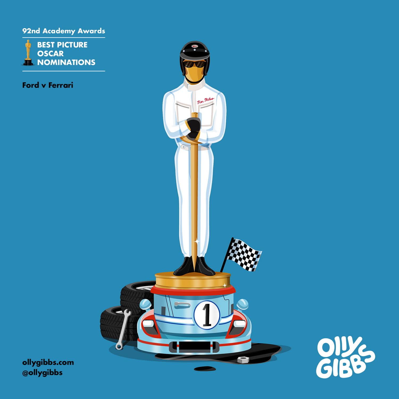 《賽道狂人》:傳紀片向來是奧斯卡最情有獨鍾的電影類型,而海報裡一身賽車服的小金人獎座,更是讓觀眾回想起片中風馳電掣的飆速快感。