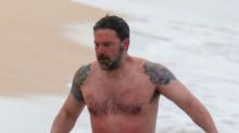 It's Real! Ben Affleck Goes Shirtless and Shows Off Massive Back Tattoo After Claiming It Was Fake