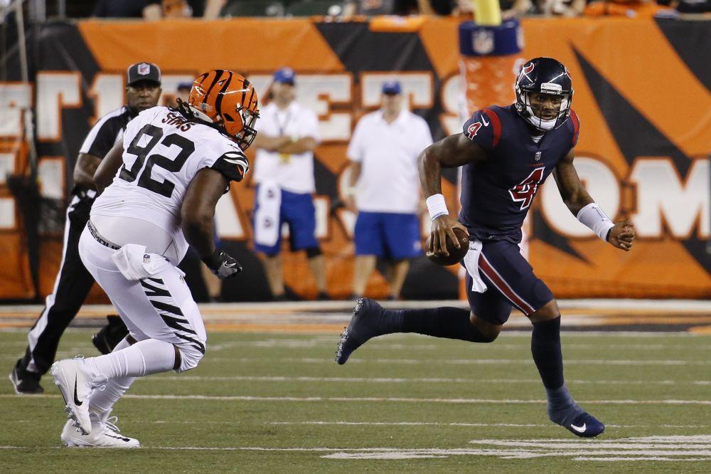 Deshaun Watson had a 49-yard touchdown run in his first career start Thursday night against the Bengals. (AP)