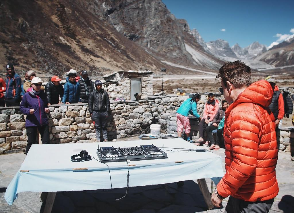"""Influential British DJ Paul Oakenfold has reached Mount Everest's base camp where he plans to host the """"highest party on earth"""", performing a set at 5,380 metres (17,600 feet) (AFP Photo/Anton NELSON)"""