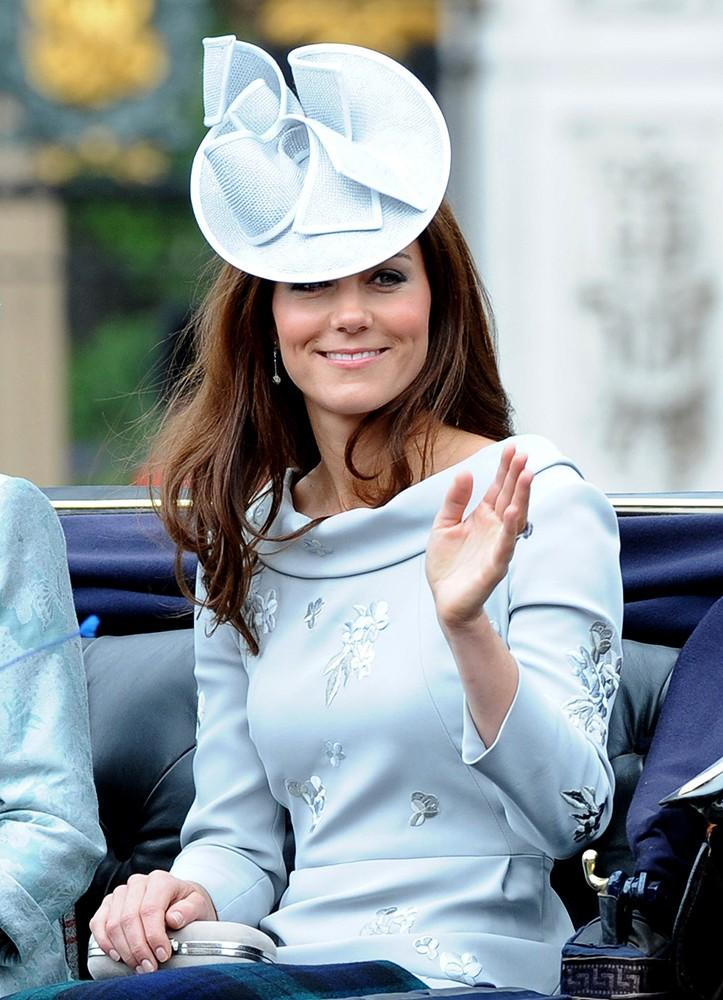 Kate waved from a carriage during the Trooping the Colour ceremony, wearing one of her favorite designers, Erdem.