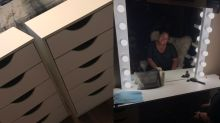 This guy couldn't stand his girlfriend using a tiny mirror 'to do her masterpieces' — so he built her something better