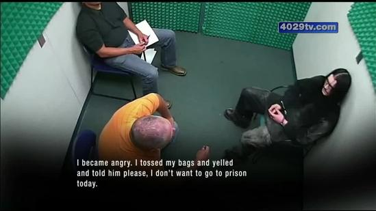 Video released by prosecutors show detectives talking to suspected machete attacker