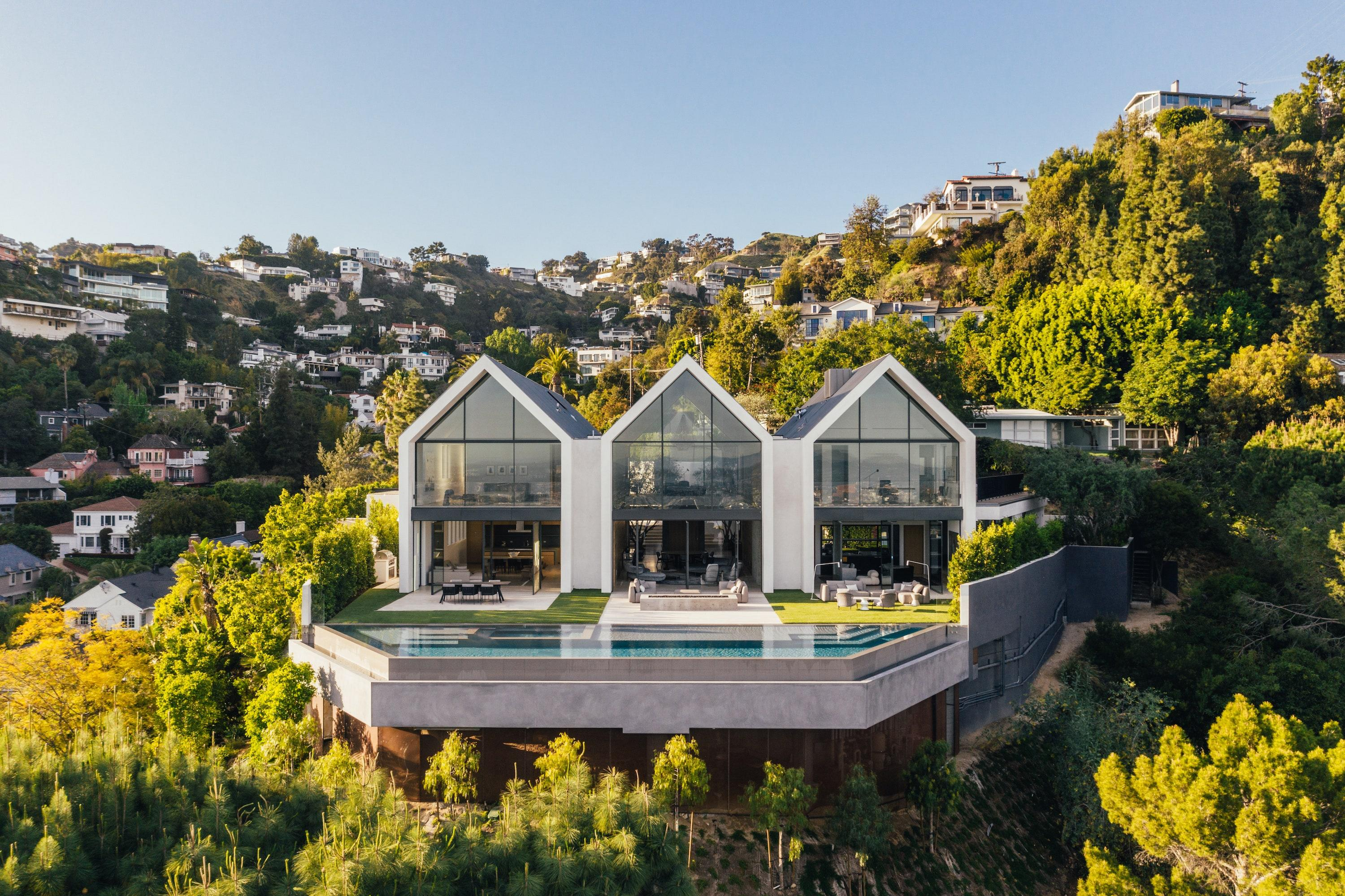 The stunning modernist home is located in the Hollywood Hills enclave of Los Angeles.