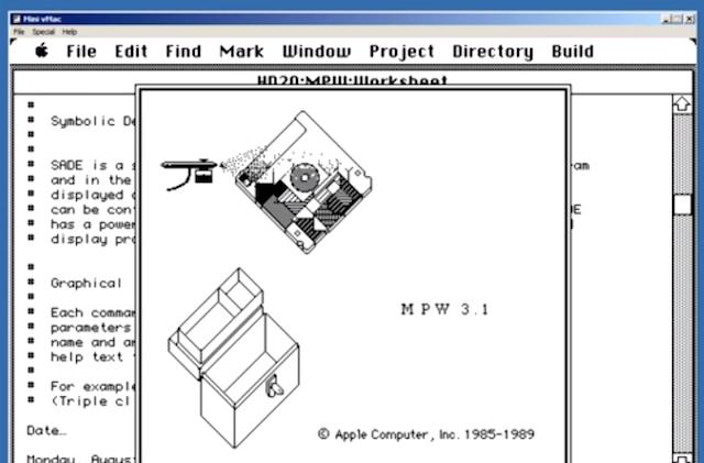 """Behold the beauty of the Macintosh Programmer's Workshop """"About"""" animation"""