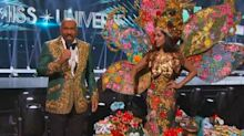 Steve Harvey stumbles through another awkward mix-up during Miss Universe 2019 costume contest