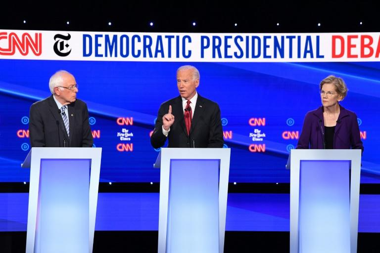Liberal Bernie Sanders, former vice president Joe Biden and progressive Elizabeth Warren are vying to challenge Donald Trump for White House in 2020 (AFP Photo/SAUL LOEB)