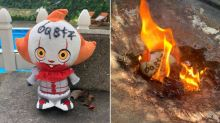 Woman burns Pennywise the clown doll, sleeps with knife under her pillow after it mysteriously winds up in yard
