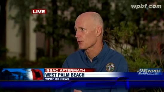 Fla. Gov. Scott tells WPBF of his Isaac recovery plans