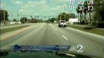 Dash camera records officer's accident