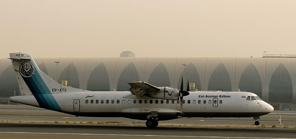 A French-made ATR-72 owned by Iran's Aseman Airlines sits on the tarmac at Dubai airport on July 29, 2008 (AFP Photo/MARWAN NAAMANI)