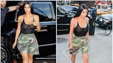 Kim Kardashian goes shopping with Kendall in a sheer tank top