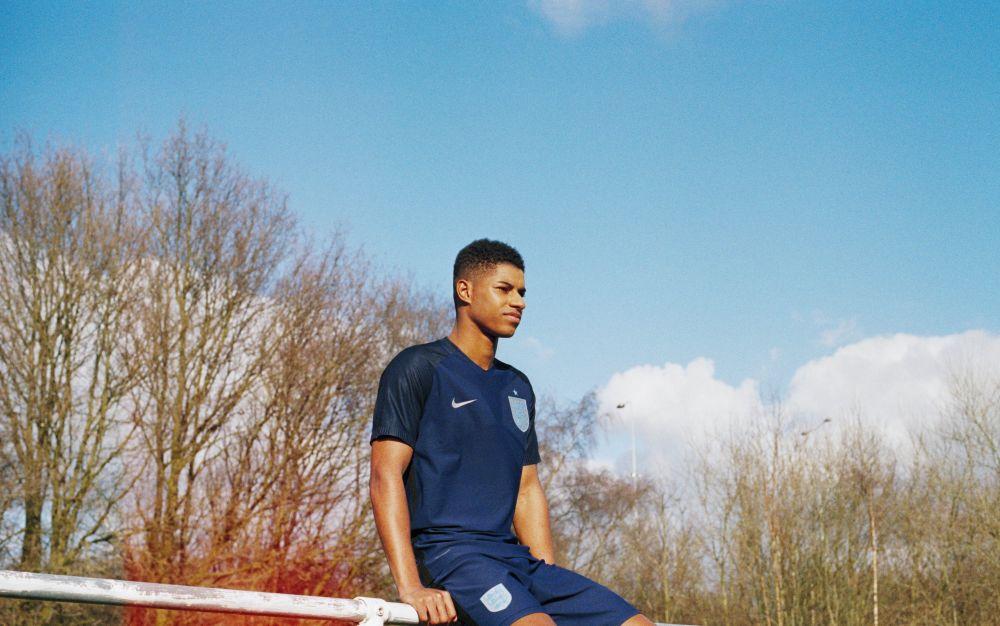 MarcusRashford in the new two-tone England strip - Credit: Lottie Bea Spencer x Nike