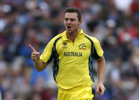 Australia's Josh Hazlewood celebrates taking the wicket of England's Alex Hales