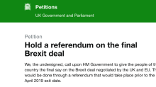 Parliament to consider a debate on holding a referendum on the final Brexit deal