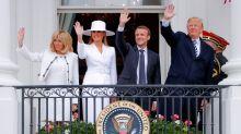 El sombrero de Melania Trump que acaparó todas las miradas (y las burlas) en la bienvenida del presidente francés Emmanuel Macron