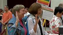 Same-sex couples line up to marry in California